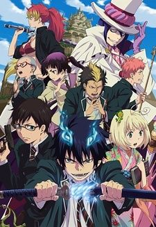 Ao No Exorcist/Blue Exorcist  [Currently watching. - Blue Exorcist follows the exploits of twin brothers becoming exorcists in a prestigious academy.  Rin (bottom center) inherits the powers of Satan; upon his foster father's death, he swears to become an exorcist in order to fight against him.]