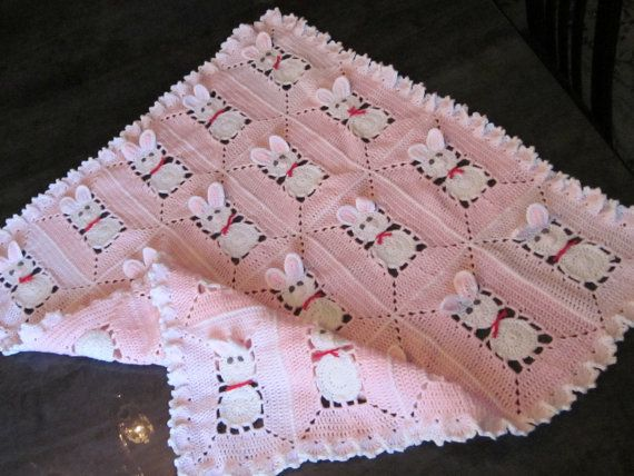 Crochet Pink Baby Blanket with bunny rabbits for by MagicalStrings, $60.00