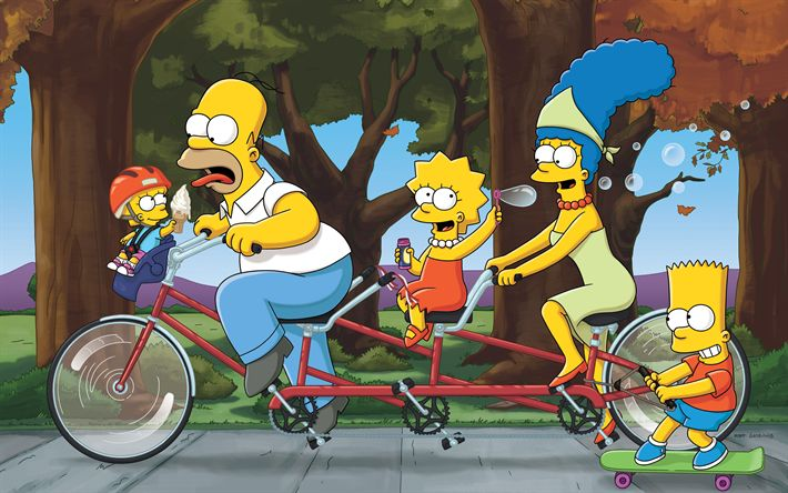 Download wallpapers The Simpsons, 4k, Homer, Marge, Bart, Lisa, bicycle, Homer Simpson