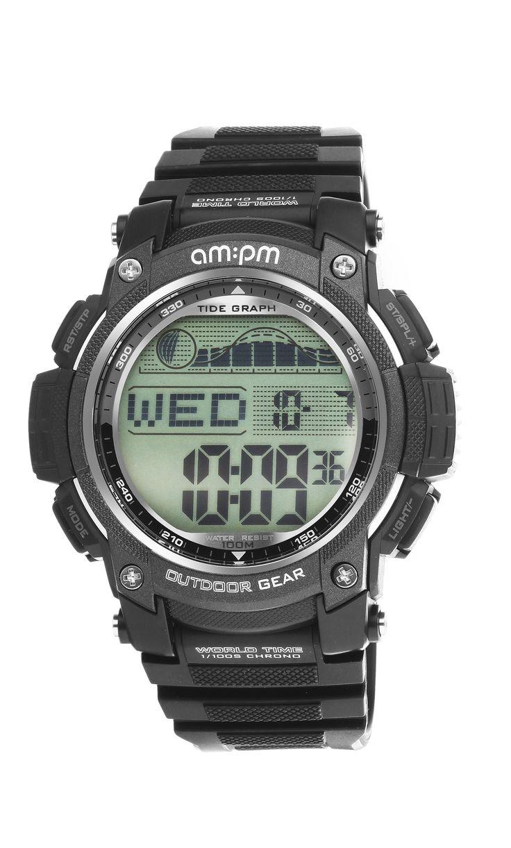 AM:PM PC168-G409 Men's Outdoor Gear Black Digital Tide Sports Watch