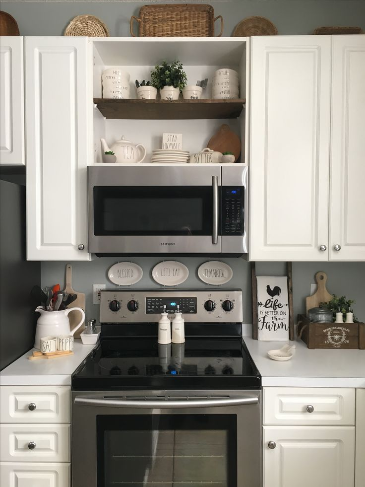 Open Display Shelves Above Microwave Kitchen Remodel