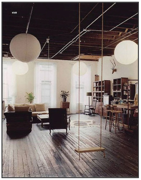 why on earth NOT have a swing in the living room? how cool would this be upstairs? cheap awesome chairs!