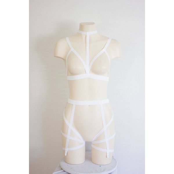 White Body Harness Lingerie White Bralette Cage Bra Exotic Dancewear... (180 BRL) ❤ liked on Polyvore featuring intimates, bras, strappy harness bra, bralette bras, white wedding lingerie, white garter belt and garter lingerie