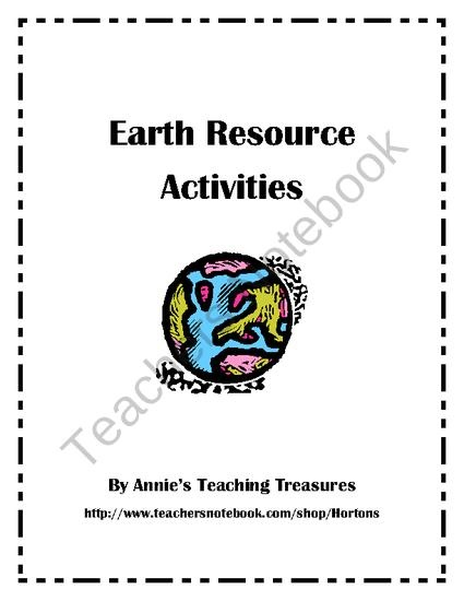 Earth Resource Activities from Annies Teaching Treasures