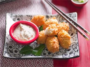 Crispy crab cakes with cucumber-yoghurt sauce These irresistible bites are the perfect combo of smooth, sweet filling and crispy, savoury coating. Use Nicola, Dutch cream or pink eye potatoes for best results.