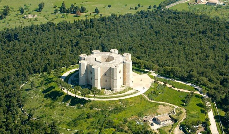 Castel del Monte, about 30 kilometers southwest of Trani, is one of Apulia's top castles and a UNESCO World Heritage Site. Built by Holy Roman Emperor Frederick II in the 13th century, the castle is famous for its unique octagonal shape. It is stunning as it stands atop an isolated hill, allowing the castle to be seen from a long distance and providing a 360 degree view from the castle's terrace.