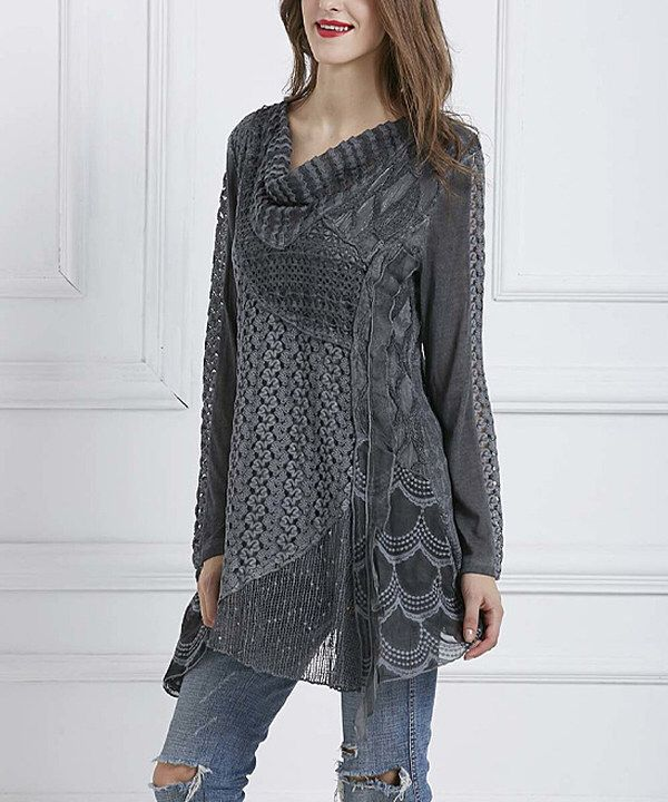 Look at this Simply Couture Gray Textured Cowl Neck Tunic - Plus on #zulily today!
