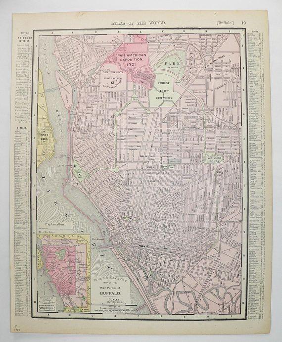 Vintage Buffalo NY Map, New Jersey State Map 1900 Antique City Street Map of Buffalo New York, NJ Map, New Jersey Gift, Buffalo Office Decor available from www.OldMapsandPrints.Etsy.com #BuffaloNY #NewJersey #OriginalVintageMap