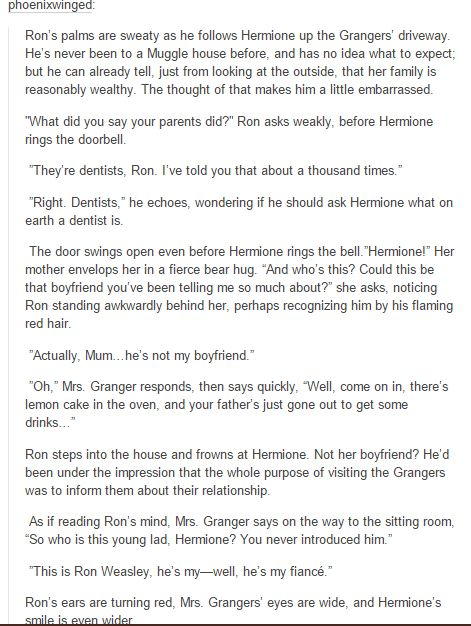 ron and hermione -*clears throat* actually ron /has/ been ...