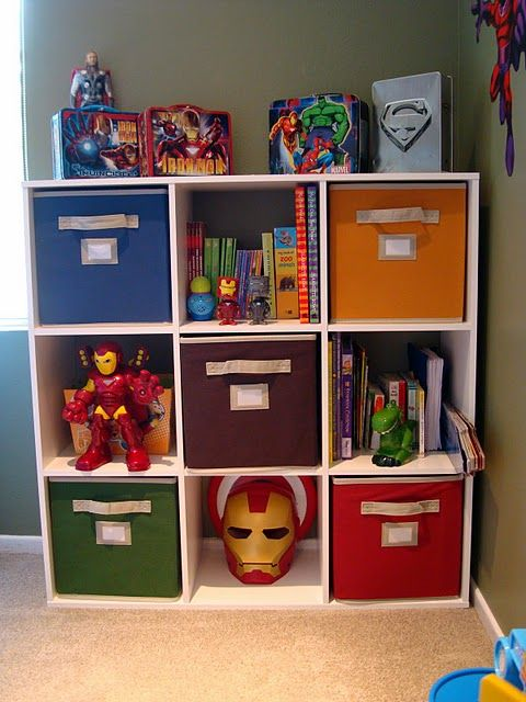 Great idea for toys... love how the bins can be filled with legos/hot wheels & pulled out/put back so easily. Definitely a must for Cashmans room.