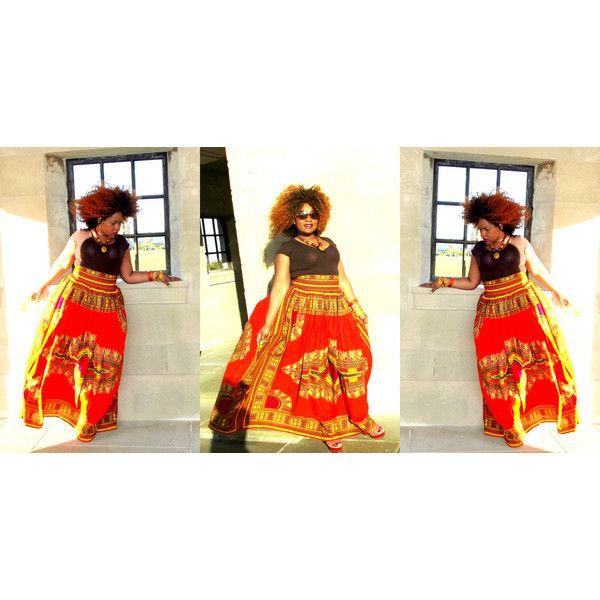 Curvyswan African Print Orange Dashiki Maxi Skirt featuring polyvore fashion clothing skirts grey women's clothing gray skirt long ankle length skirts orange maxi skirt long grey skirt grey skirt