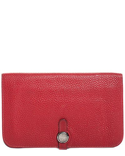 b135b1c4619 Hermes Red Togo Leather Dogon Bifold Wallet / Gilt   Luxe Only Louis ...