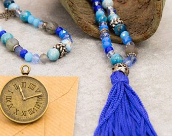 108 Mala Beads Necklace, radiant blue collection of semi-precious stones & crystals, silver charms, 108 Mala beads, yoga gift, jewelry