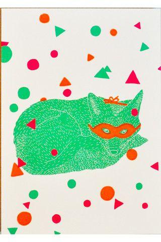 confetti fox cool greeting card