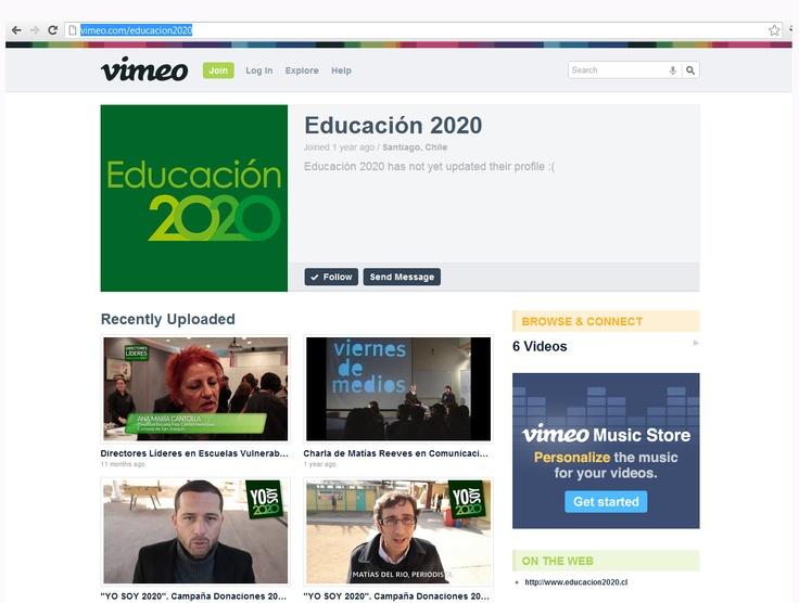 Vimeo: http://vimeo.com/educacion2020 . La presencia de Educación 2020 en esta red social, se limita a la publicación de 6 videos, publicados hace más de once meses atrás. Tiene 20 Followers y 0 Following.