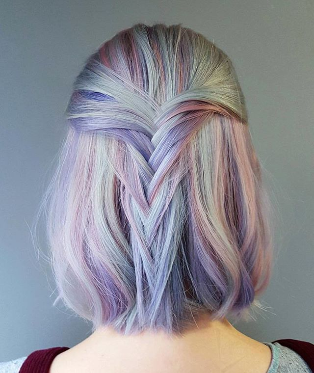Love this beautiful pastel rainbow hair look. Soft braid half up hairstyle in pinks, mayve, purple and candy