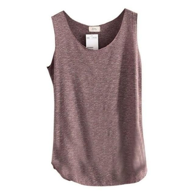 Summer Shirt Women Bamboo Cotton Sleeveless Round Neck Loose T Shirt Ladies Vest Singlets Comfortable H6 dk One Size