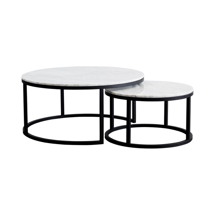 Modern Designer Round Nesting Marble Coffee Tables