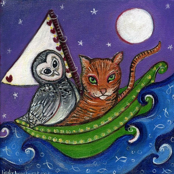 The Owl and The Pussy Cat Art Print Nursery Art by LindyLonghurst