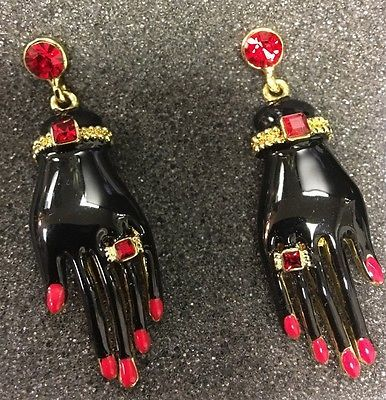 Amazing Vintage Butler And Wilson Black Red Diamanté Hand Drop Pierced Earrings