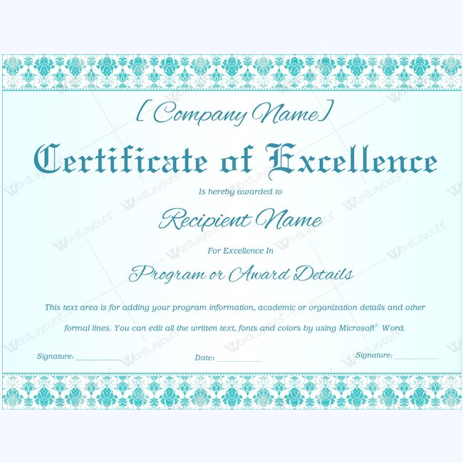 Certificate Of Excellence  Certificates Of Excellence Templates