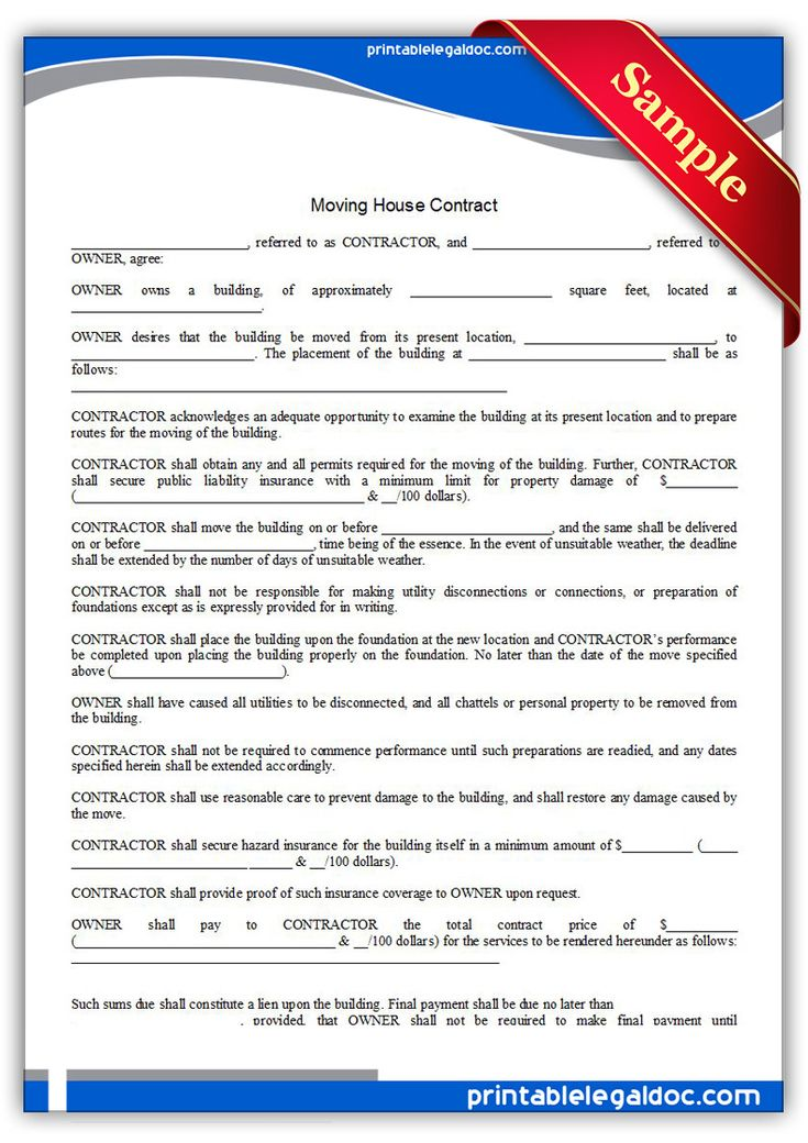 Free Printable Moving House Contract Legal Forms
