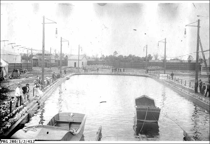A water chute at Princes Court, Melbourne, 1905. (Built on the site of Arts Centre Melbourne). A fenced area of water described by A. Searcy as a water chute at Princes Court, Melbourne. #Vintage #Melbourne #photography