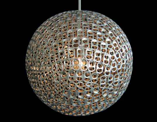 Pop Pendant Light - Mauricio Affonso: Beautifully executed, made of hundreds of soda can tabs.