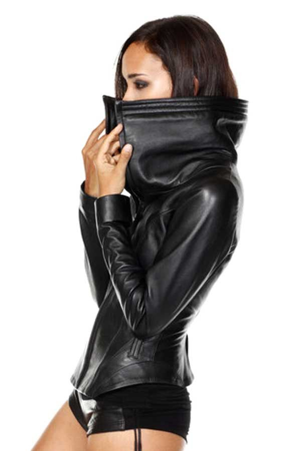 Sculptural sheep leather jacket with dramatic shearing collar and feminine curves. Ribbing down inner arms allows comfort and sleek fit. Fully lined with stretch silk. Hand cast zipper pull. Sparrow d