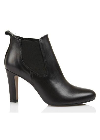 E-boutique Boots À Talon En Cuir Cl Adina Noir Eden femme | Place des Tendances