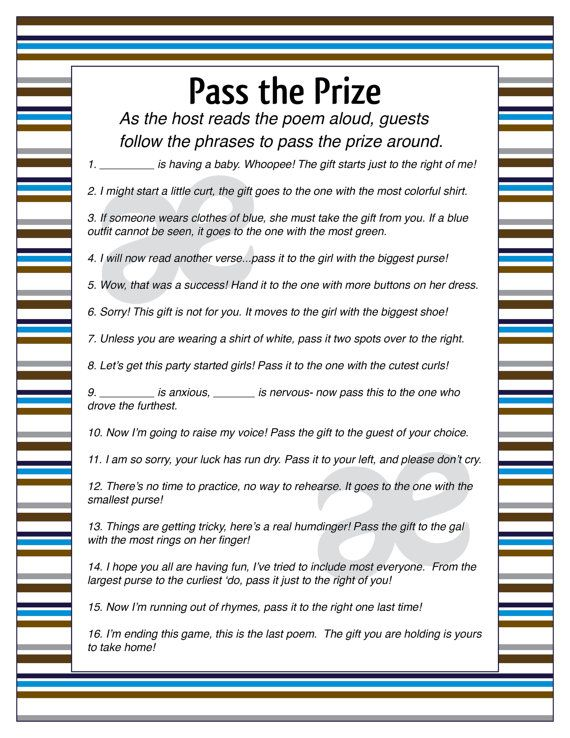 This listing is for a printable Pass the Prize page for a baby shower. This game…
