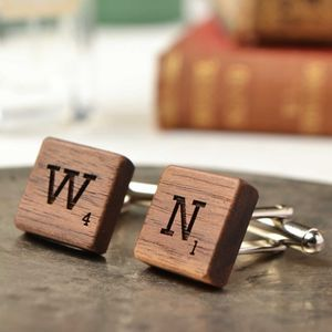 Letter Tile Wooden Cufflinks - jewellery & cufflinks