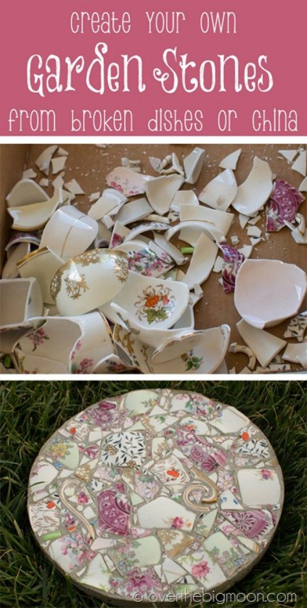 re-use broken dishes! I'm going to do this with my great great grandmas wedding China! How awesome!