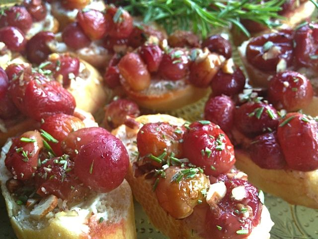 Roasted Red Grapes and Rosemary delicious served with goat cheese for the holidays.