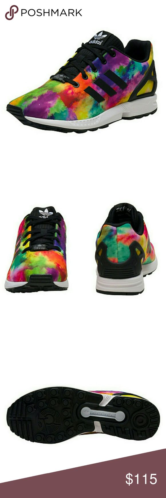 NWOB, Adidas ZX Flux Sneaker Multicolor ZX Flux sneaker  Kid's low top shoe  All-over tie dye printed synthetic upper  Padded tongue with adidas logo branding detail  Triple adidas stripes on sides  adidad Torsion sole technology for ultimate performance  Traction rubber outsole FABRIC: Synthetic materials Brand new, without box. Perfect condition!! adidas Shoes