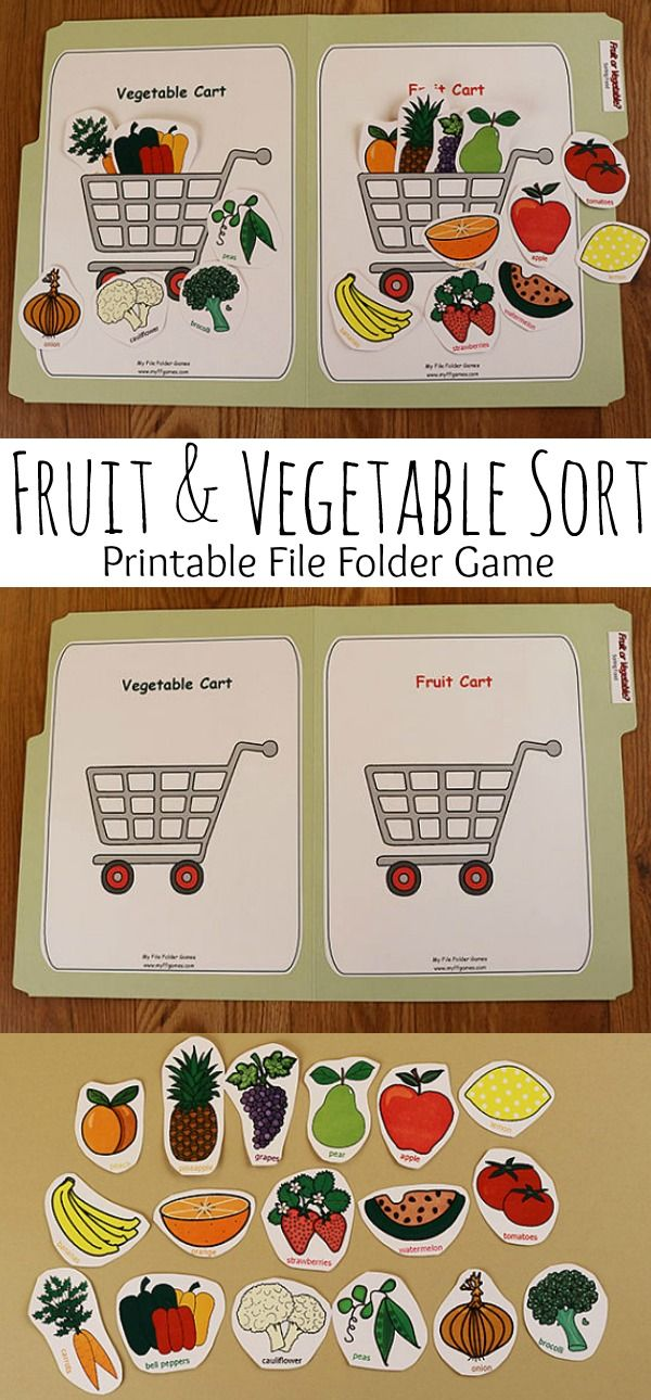 Fruit & Vegetable Sort Printable File Folder Game #fruit #vegetable #game #printable #worksheets #preschool #preschoolers #prek #toddler #busybags #affiliate