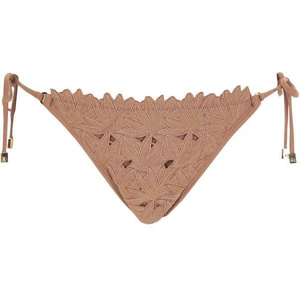 Light brown embroidered triangle bikini top (€24) ❤ liked on Polyvore featuring swimwear, bikinis, bikini tops, side tie bikini, swim bikini, bottom bikini, flower print bikini and floral bikini bottom