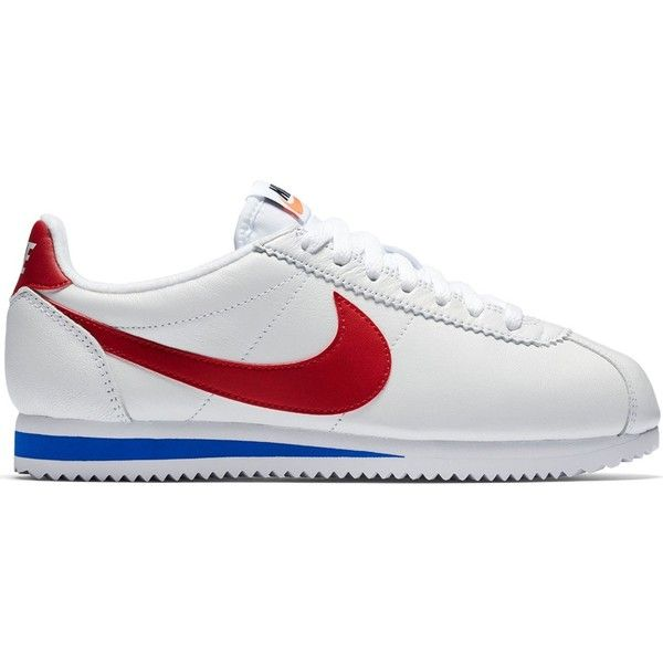 Nike Classic Cortez Sneaker (€95) ❤ liked on Polyvore featuring shoes, sneakers, white, cushioned shoes, vintage style shoes, nike shoes, white wedge sneakers and nike sneakers