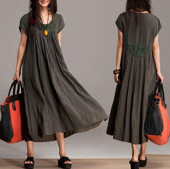 Comfort Linen Maxi Dress / Unique Summer crochet army green round neck short-sleeved loose dress
