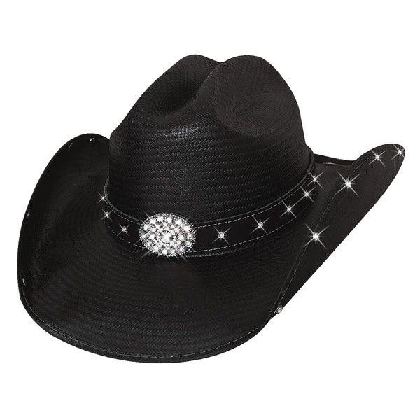 Have a good time while you can, because the sun can't shine everyday. Bullhide's Here For a Good Time cowgirl hat, from Terri Clark's signature collection is ready for living life to the fullest. It's adorned with bright rhinestones on the under brim and the hat band. A rhinestone encrusted front co