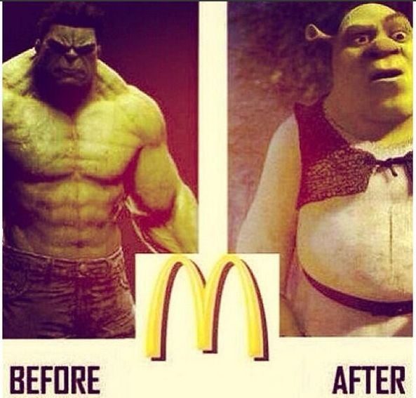 Hulk before McDonald's and Shrek after McDonald's
