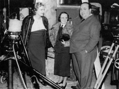 Madeline Carroll, Alma Reville and Director Alfred Hitchcock on the set of The 39 Steps.