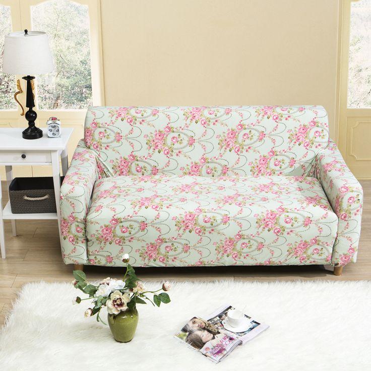 23-47USD Pink flowers printed sofa cover elegant modern fashion 1/2/3/4 seat sofa covers cheap four season sectional sofa cover slipcover