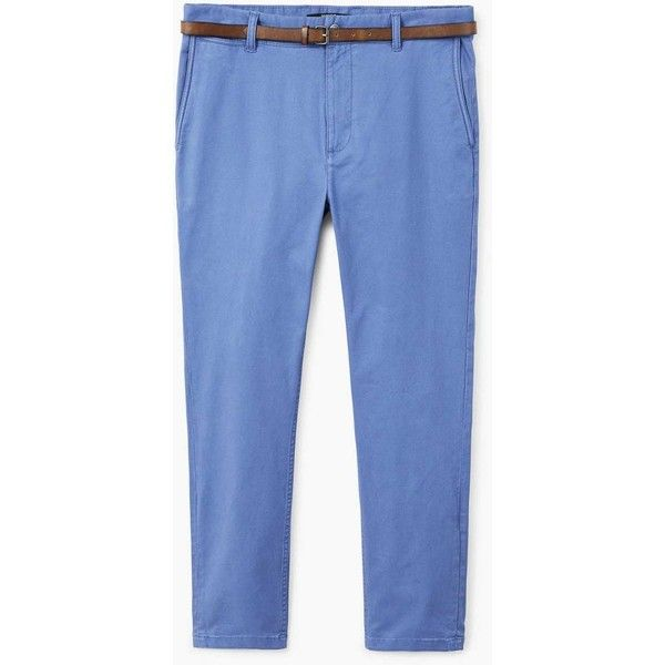 Belted Cotton Chinos (€40) ❤ liked on Polyvore featuring men's fashion, men's clothing, men's pants, men's casual pants, mens chinos pants, mens zip off pants, mens skinny pants, mens super skinny dress pants and mens zipper pants