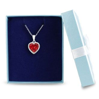5 ½ Carat Created Ruby Heart Necklace + FREE Earrings!
