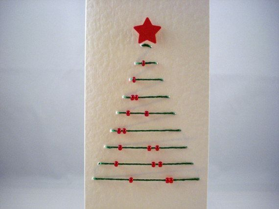 Christmas Tree Card Hand Sewn Merry by LullabelleCreations on Etsy