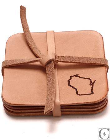 Context Leather  Wisconsin Beermat Set