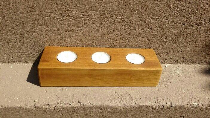 Tea light holder scrap oak 3x2