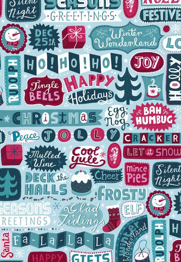 Christmas Stationery by Linzie Hunter, via Behance