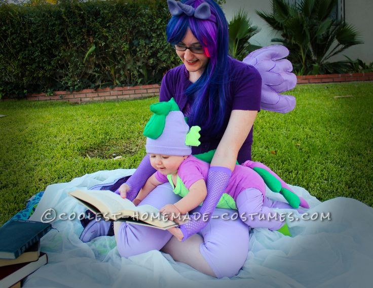 Cheap and Cute Mom and Baby Costume: Twilight Sparkle and Baby Spike the Dragon… Coolest Halloween Costume Contest